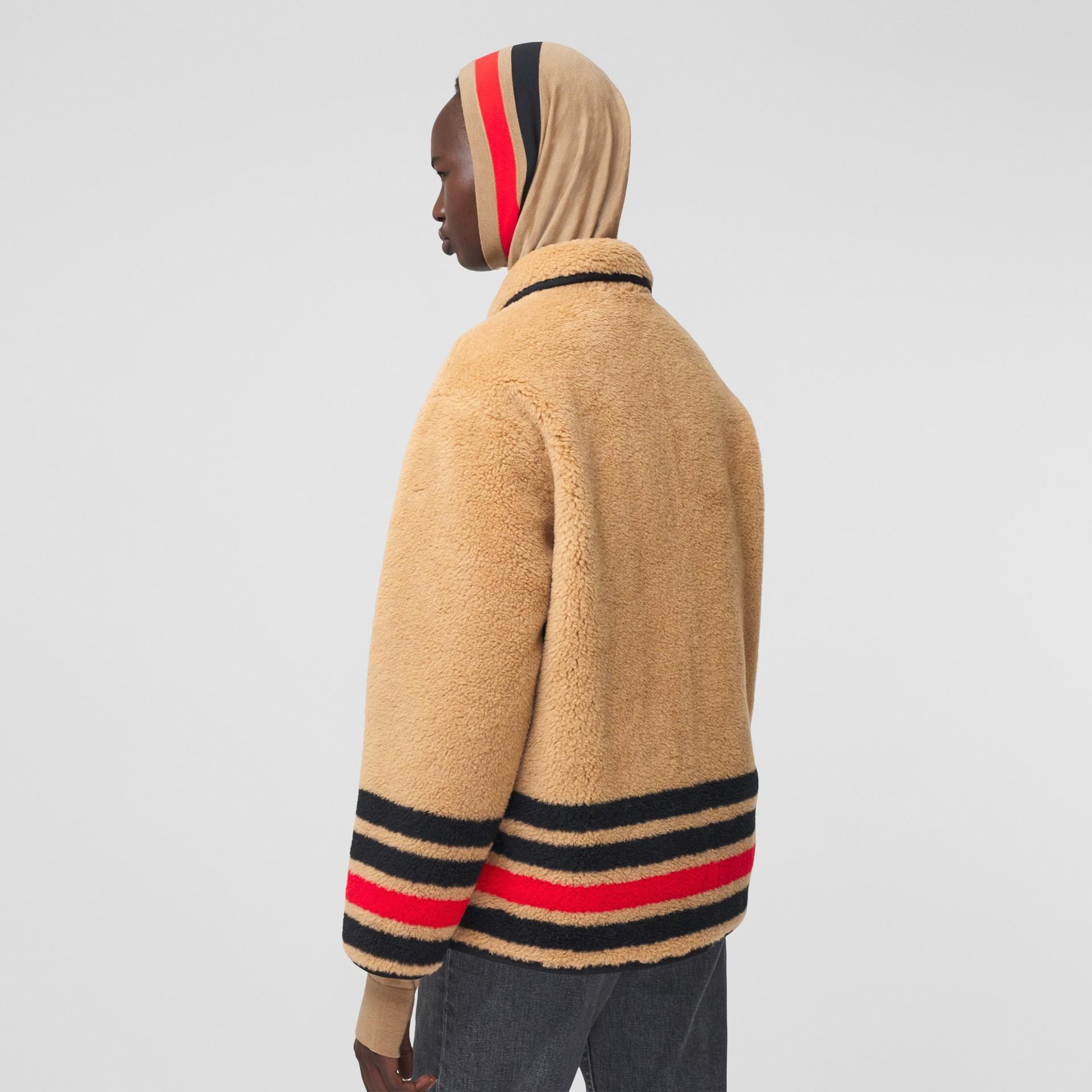 Stripe Intarsia Fleece Jacket in Light Camel - Women | Burberry Canada - gallery image 2