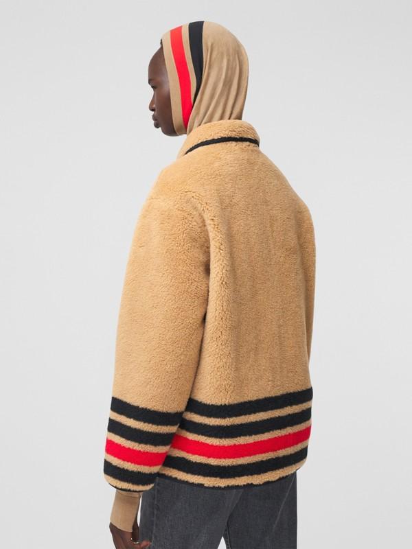 Stripe Intarsia Fleece Jacket in Light Camel - Women | Burberry - cell image 2