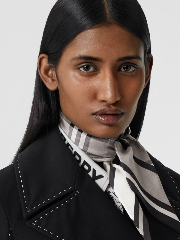 Montage Print Silk Skinny Scarf in Monochrome | Burberry - cell image 2