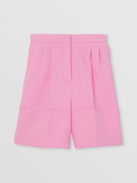 Pantaloncini sartoriali in twill di cotone con orli oversize (Rosa Caramella)