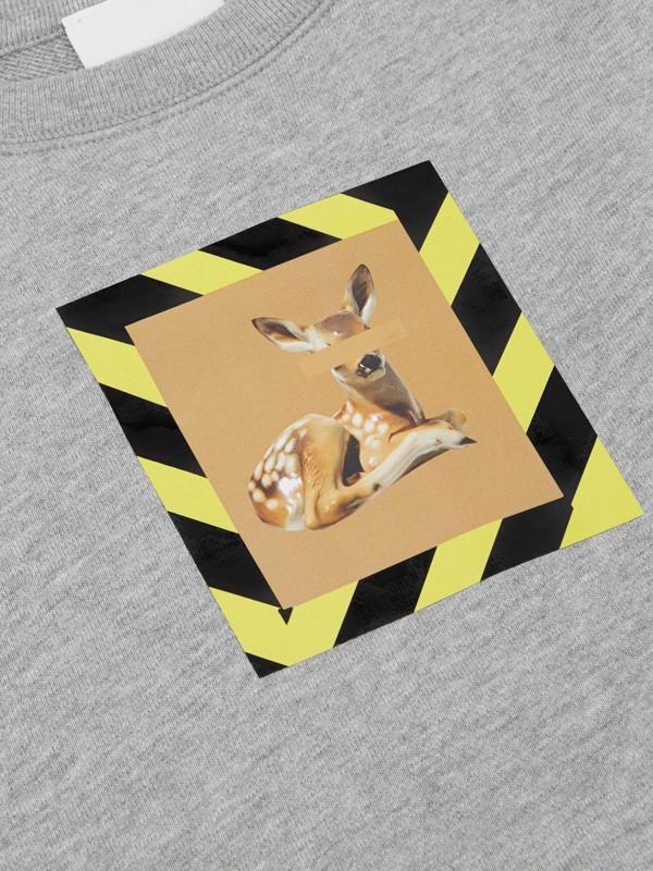 Deer Print Cotton Sweatshirt in Grey Melange | Burberry United Kingdom - cell image 2