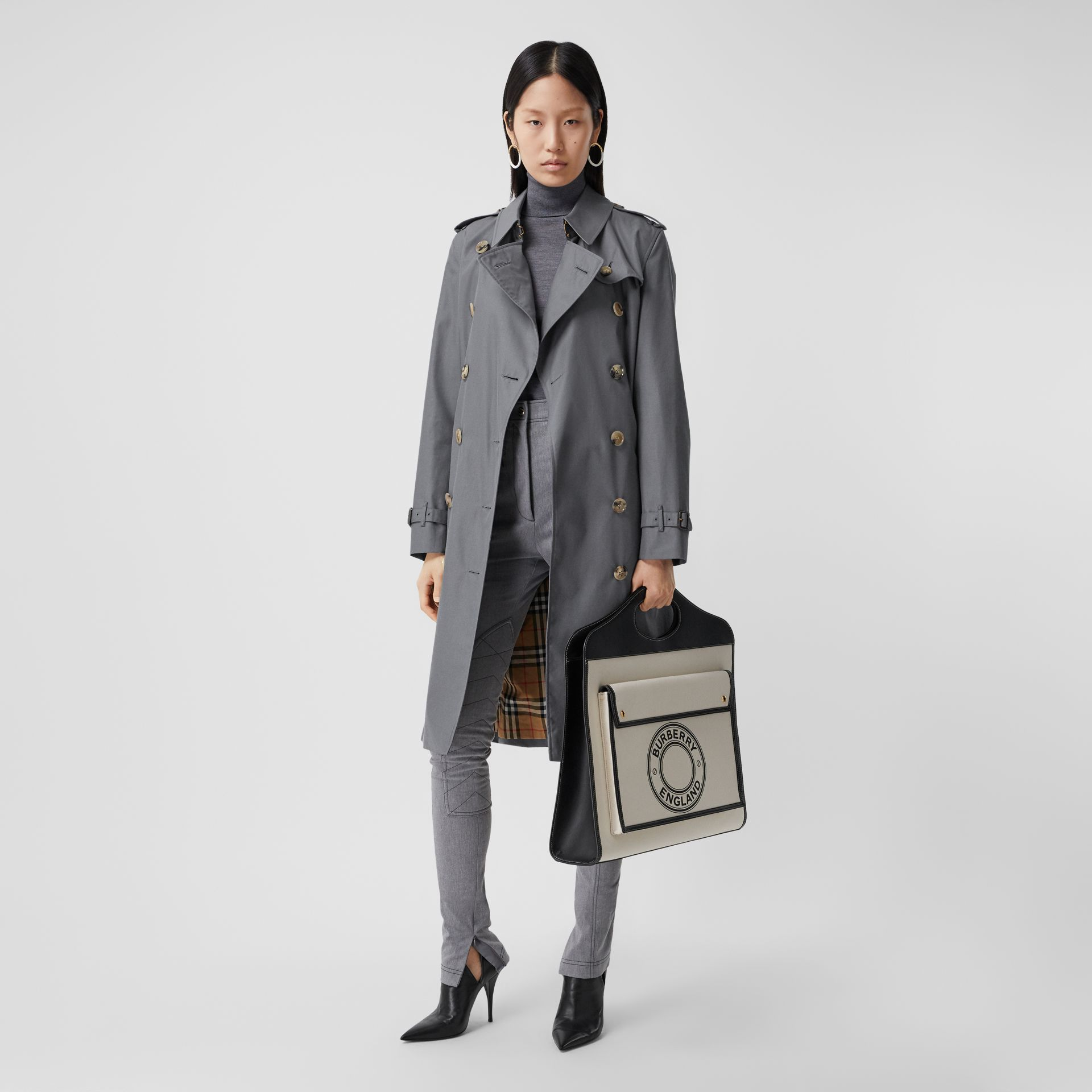 Cotton Gabardine Long Trench Coat in Mid Grey - Women | Burberry United Kingdom - gallery image 0