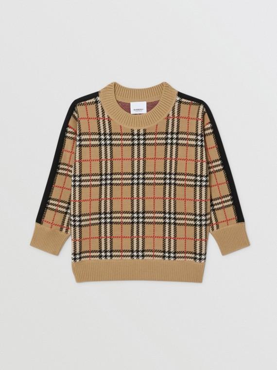 Check Merino Wool Jacquard Sweater in Archive Beige