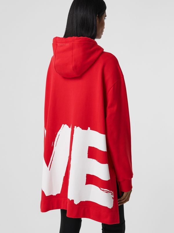 Love Print Cotton Oversized Hoodie in Bright Red - Women | Burberry - cell image 2
