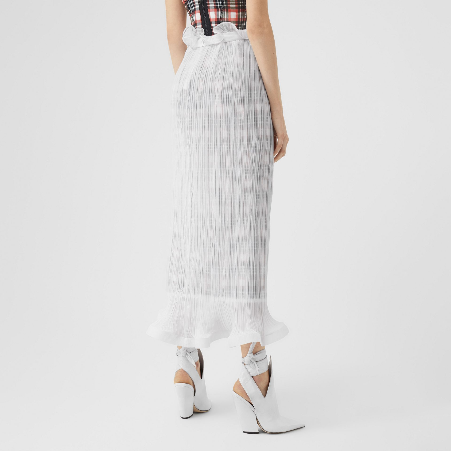 Custom Fit Ruffle Detail Chiffon Plissé Skirt in Optic White - Women | Burberry - gallery image 1