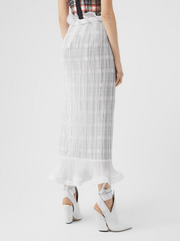 Custom Fit Ruffle Detail Chiffon Plissé Skirt in Optic White - Women | Burberry - cell image 1