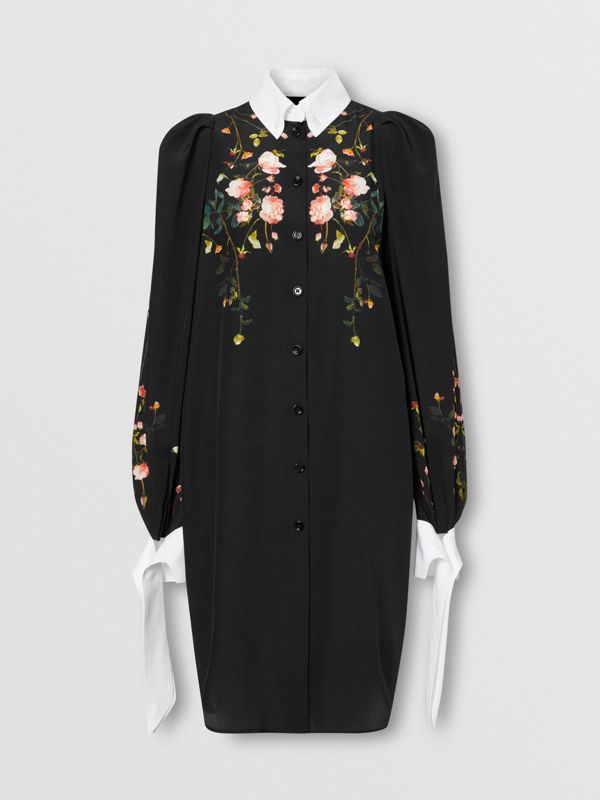 Rose Print Silk Crepe De Chine Shirt Dress in Black - Women | Burberry - cell image 3