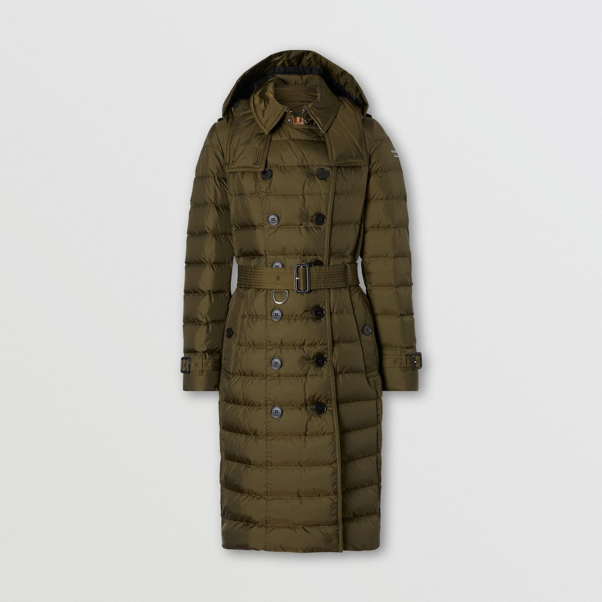 Detachable Hood Belted Puffer Coat in Dark Olive - Women | Burberry Australia - gallery image 0
