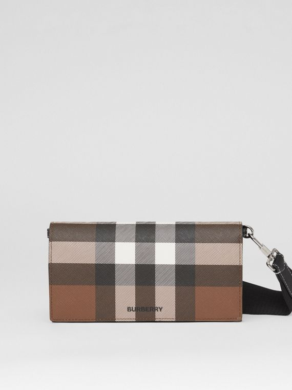 Check E-canvas Wallet with Detachable Strap in Dark Birch Brown