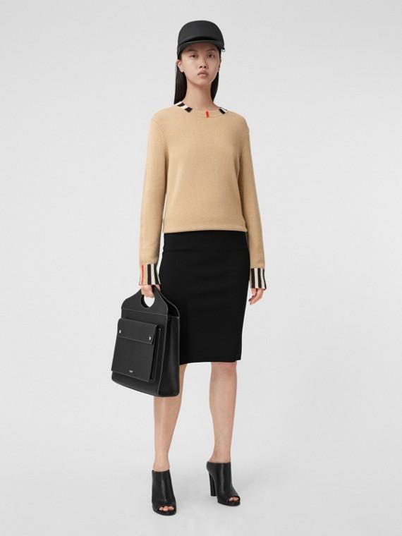 Icon Stripe Trim Cashmere Sweater in Archive Beige