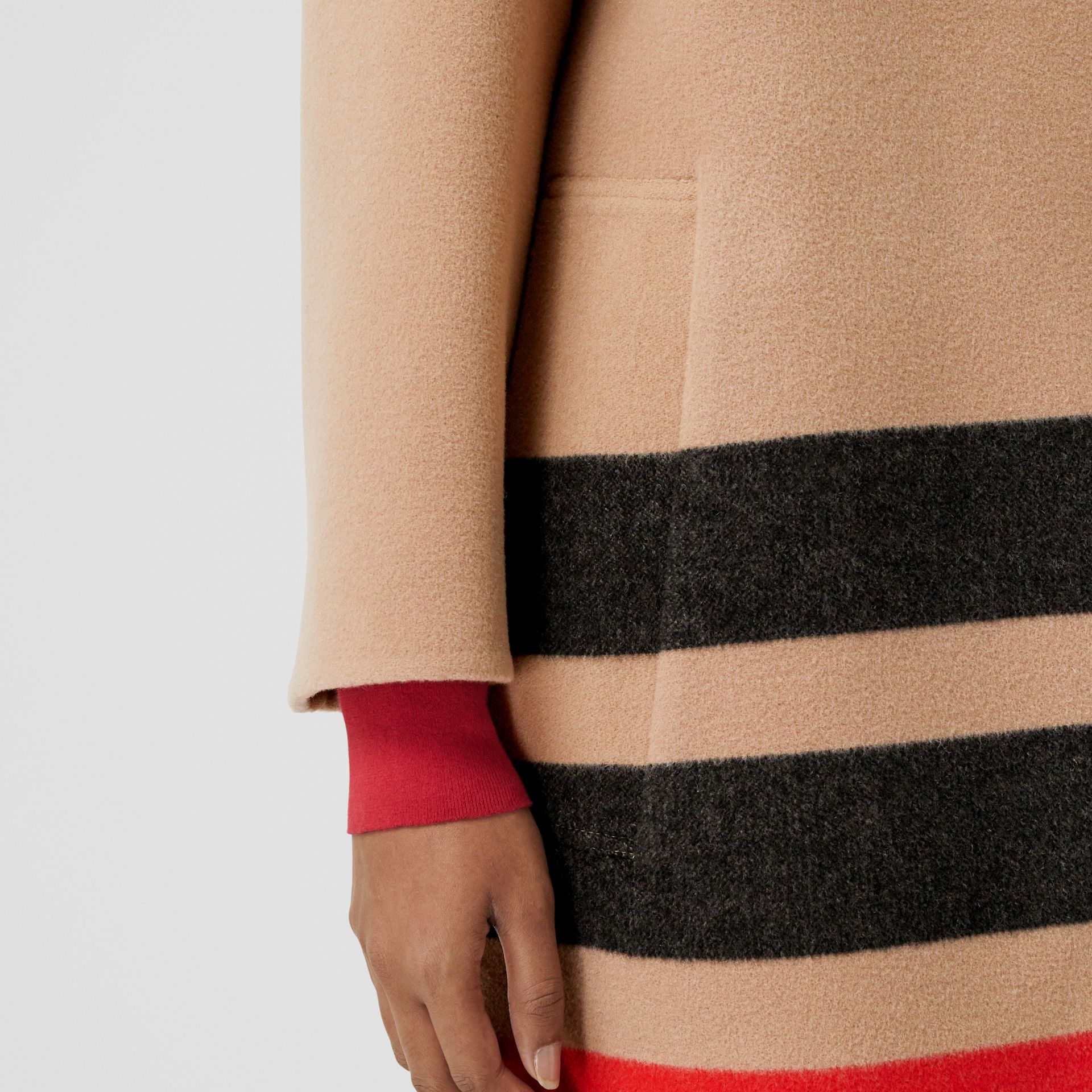 Stripe Detail Double-faced Wool Coat in Light Camel - Women | Burberry - gallery image 5