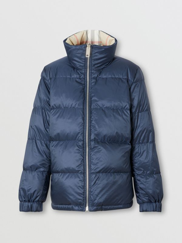Reversible Check Puffer Jacket in Navy - Women | Burberry - cell image 2