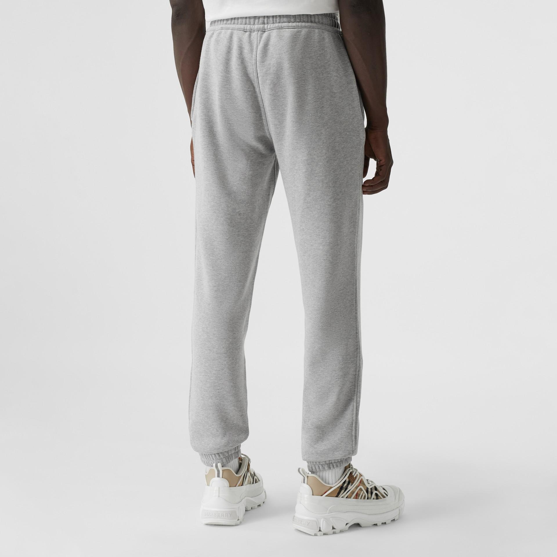 Logo Graphic Appliqué Cotton Jogging Pants in Pale Grey Melange - Men | Burberry - gallery image 2