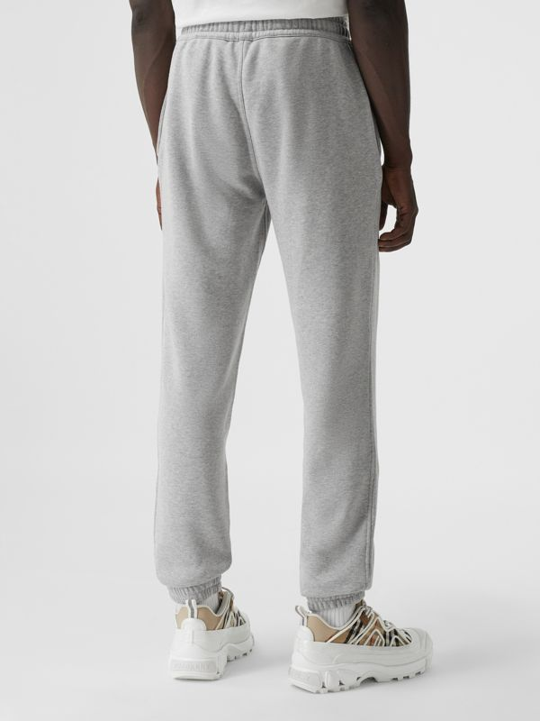 Logo Graphic Appliqué Cotton Jogging Pants in Pale Grey Melange - Men | Burberry - cell image 2