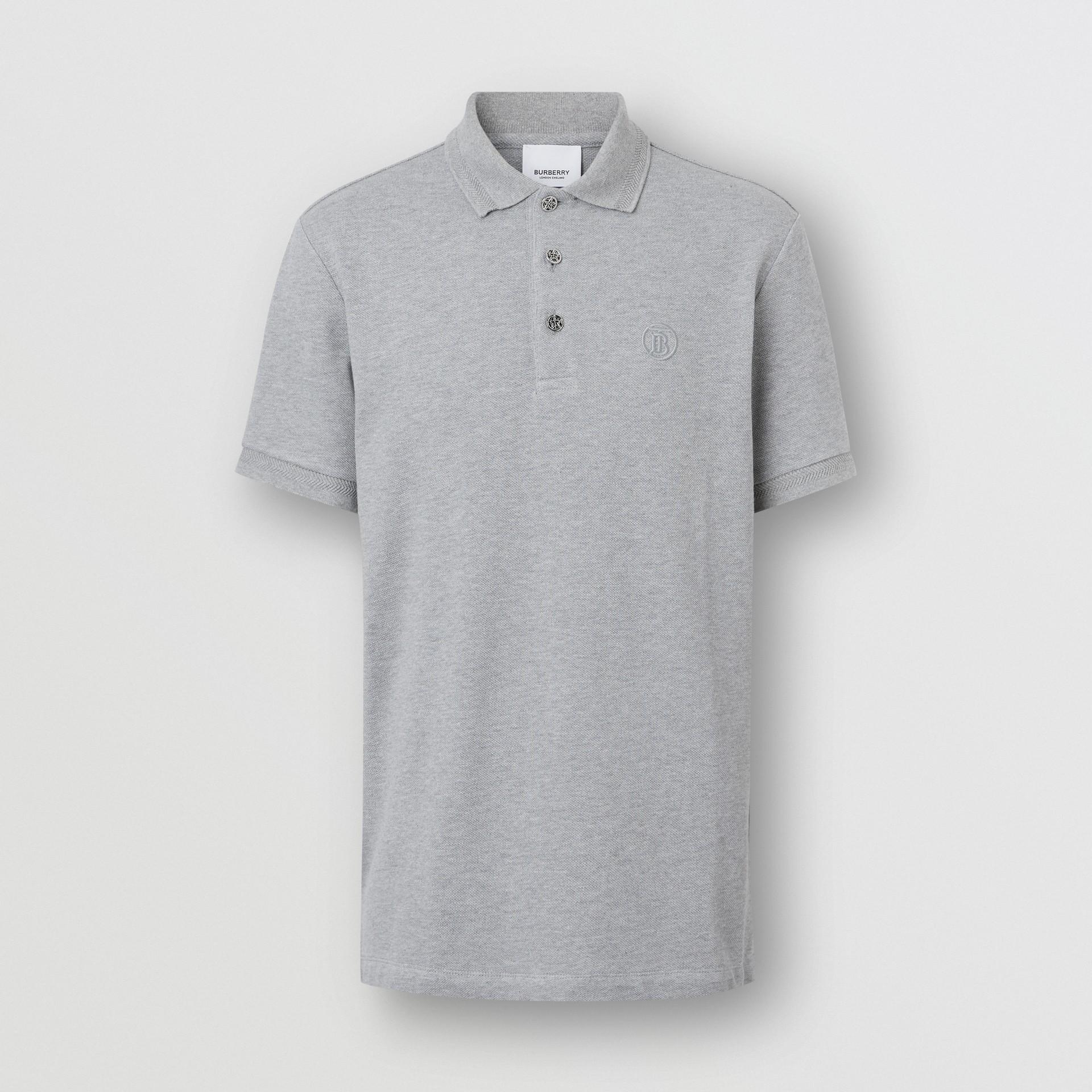 Button Detail Cotton Piqué Polo Shirt in Pale Grey Melange - Men | Burberry Canada - gallery image 3