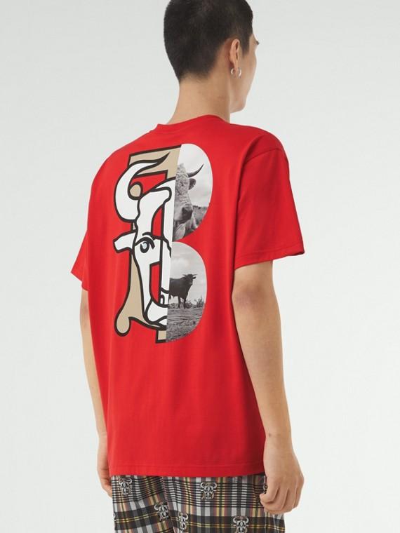 T-shirt en coton à imprimé montage unisexe (Rouge Vif)