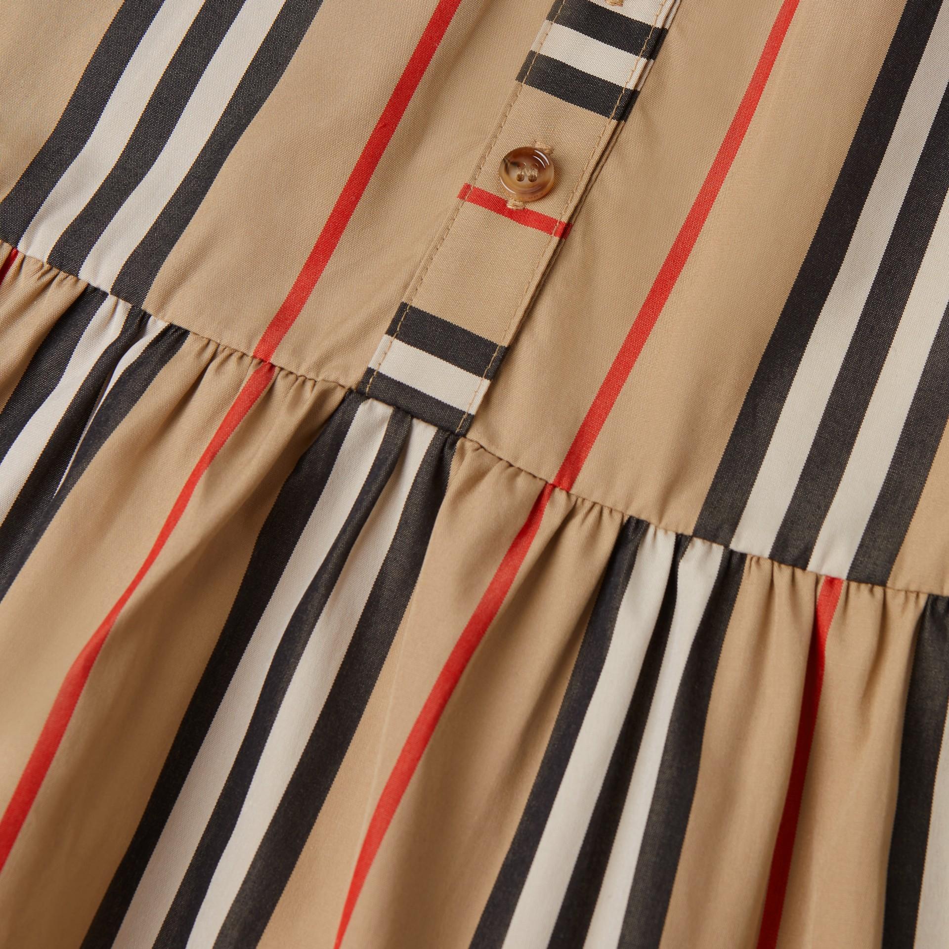 Icon Stripe Gathered Cotton Poplin Dress - Children | Burberry United Kingdom - gallery image 1