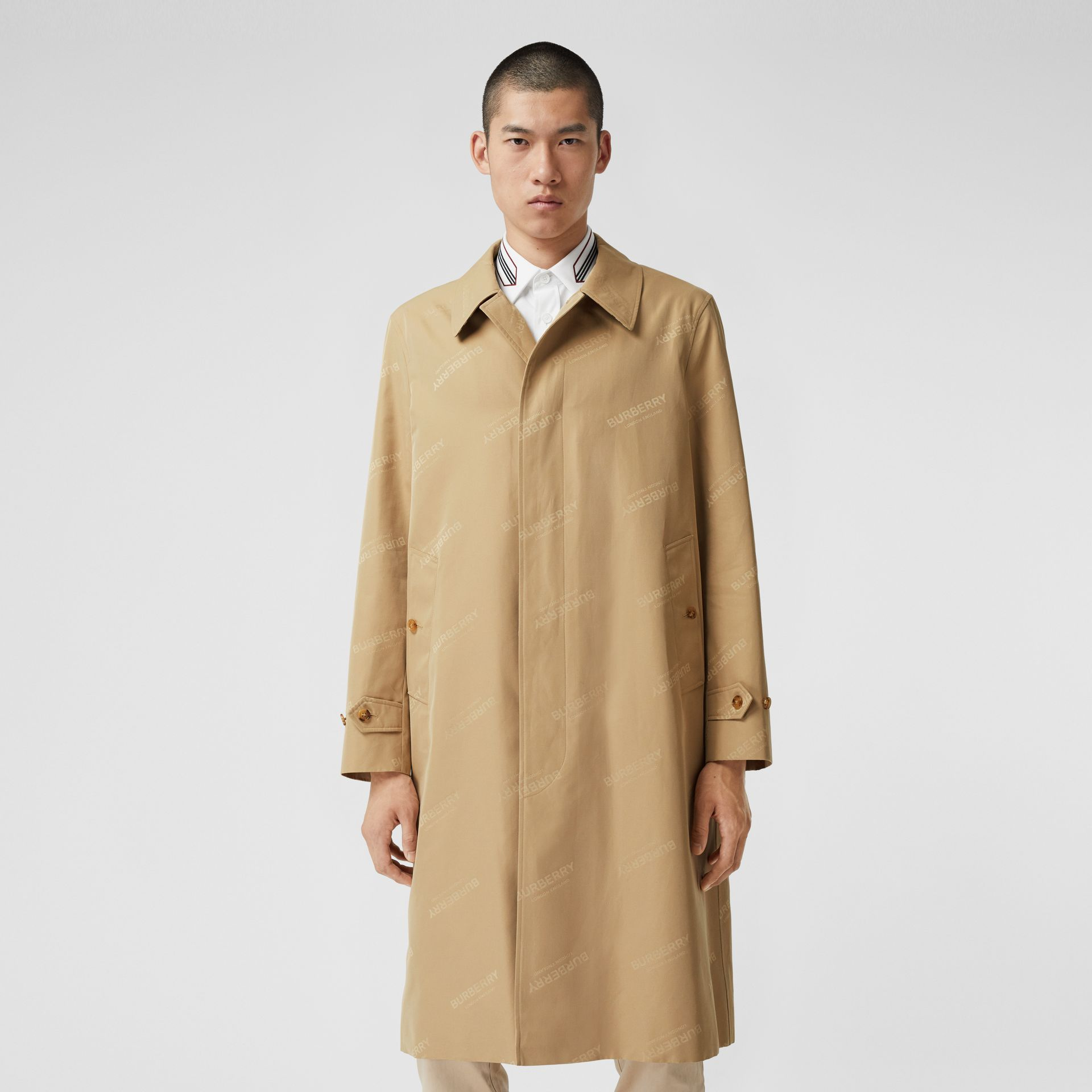 Logo Jacquard Cotton Twill Car Coat in Soft Fawn - Men | Burberry - gallery image 6