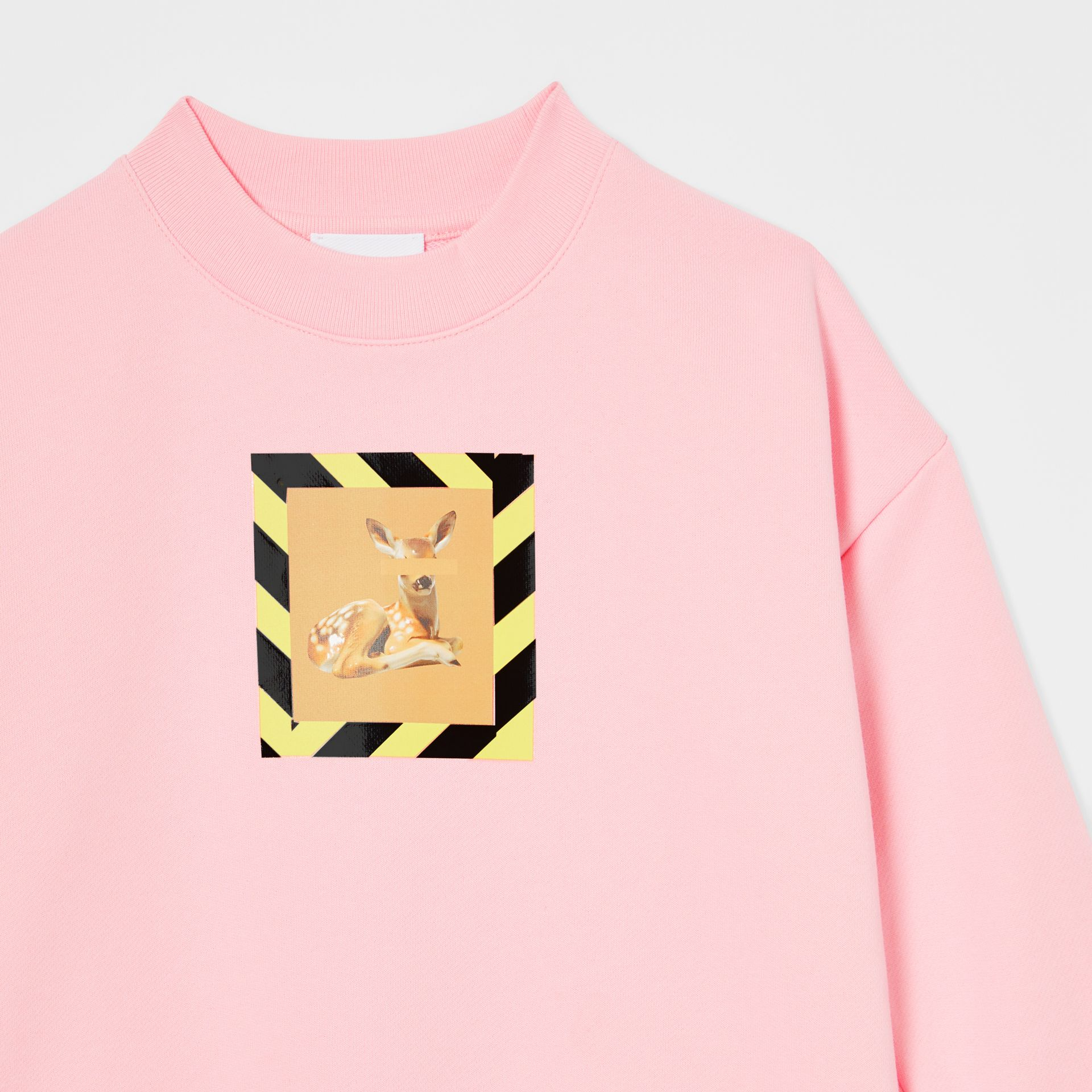 Deer Print Cotton Sweatshirt in Candy Pink | Burberry - gallery image 5