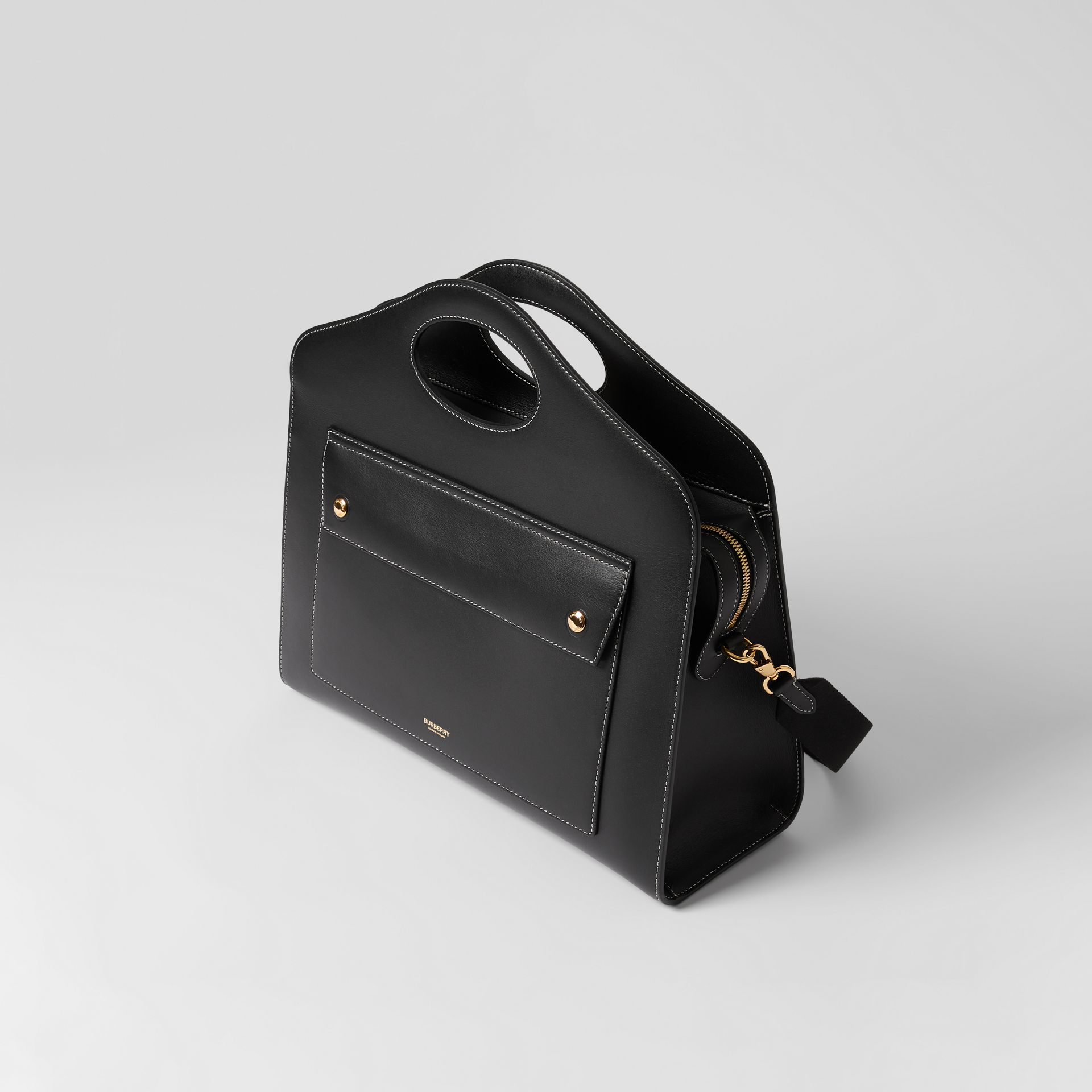 Medium Topstitched Leather Pocket Tote in Black - Women | Burberry - gallery image 3