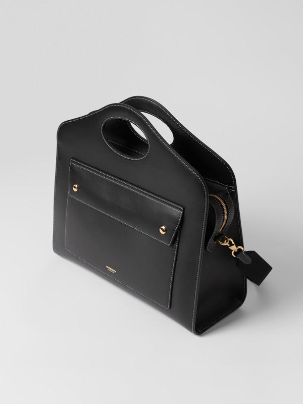 Mittelgroße Leder-Henkeltasche mit Steppnähten (Schwarz) - Damen | Burberry - cell image 3