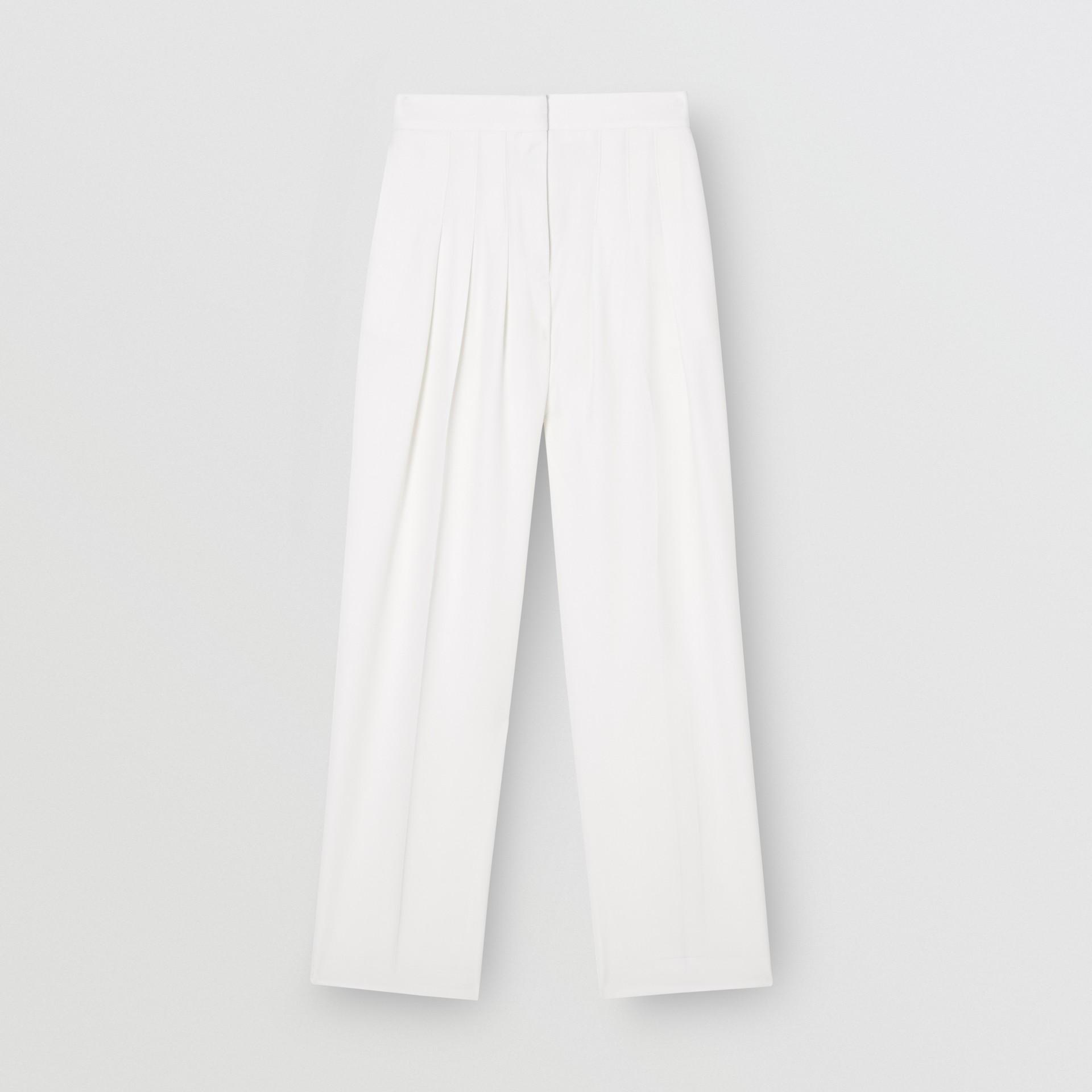 Grain De Poudre Wool Pleated Trousers in Snow - Women | Burberry Australia - gallery image 1