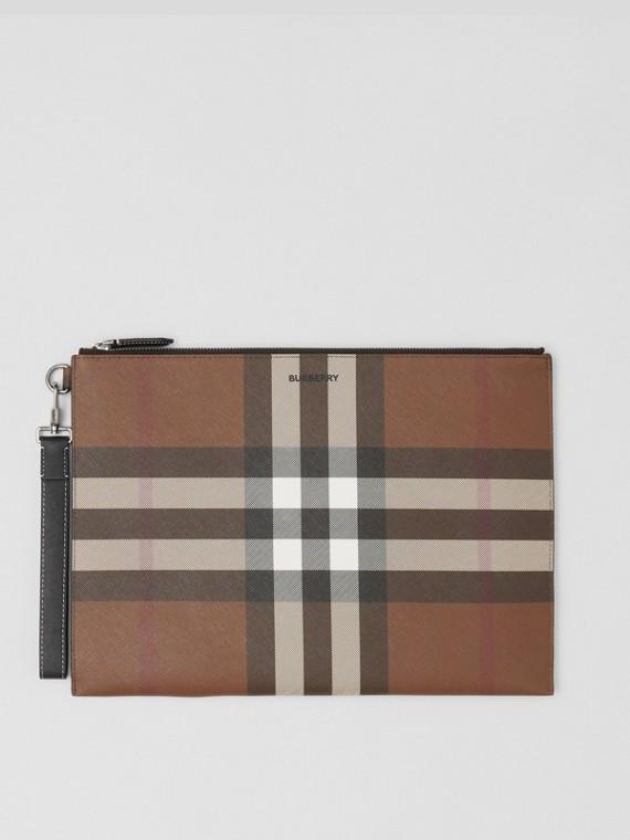 Large Check E-canvas Zip Pouch in Dark Birch Brown