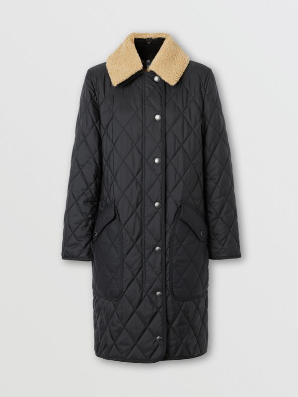 Detachable Fleece Collar Diamond Quilted Coat in Black - Women | Burberry - cell image 3
