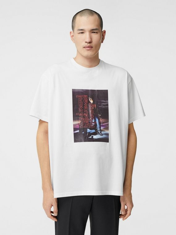 Photo Print Cotton T-shirt in Optic White
