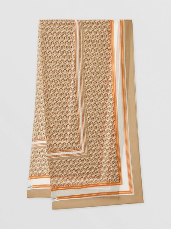 Unicorn Print Silk Chiffon Scarf in Archive Beige