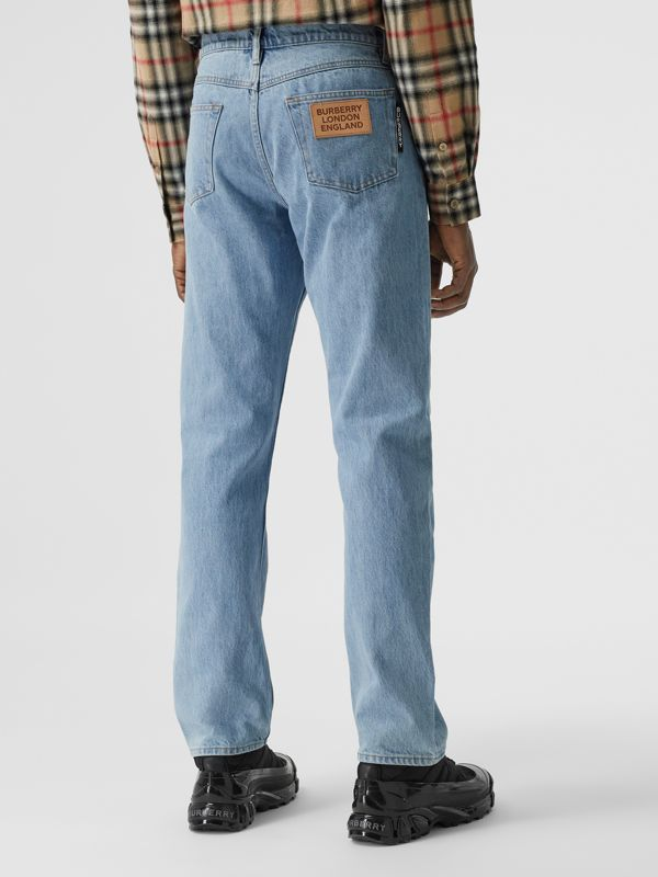 Straight Fit Washed Denim Jeans in Pale Blue - Men | Burberry - cell image 2