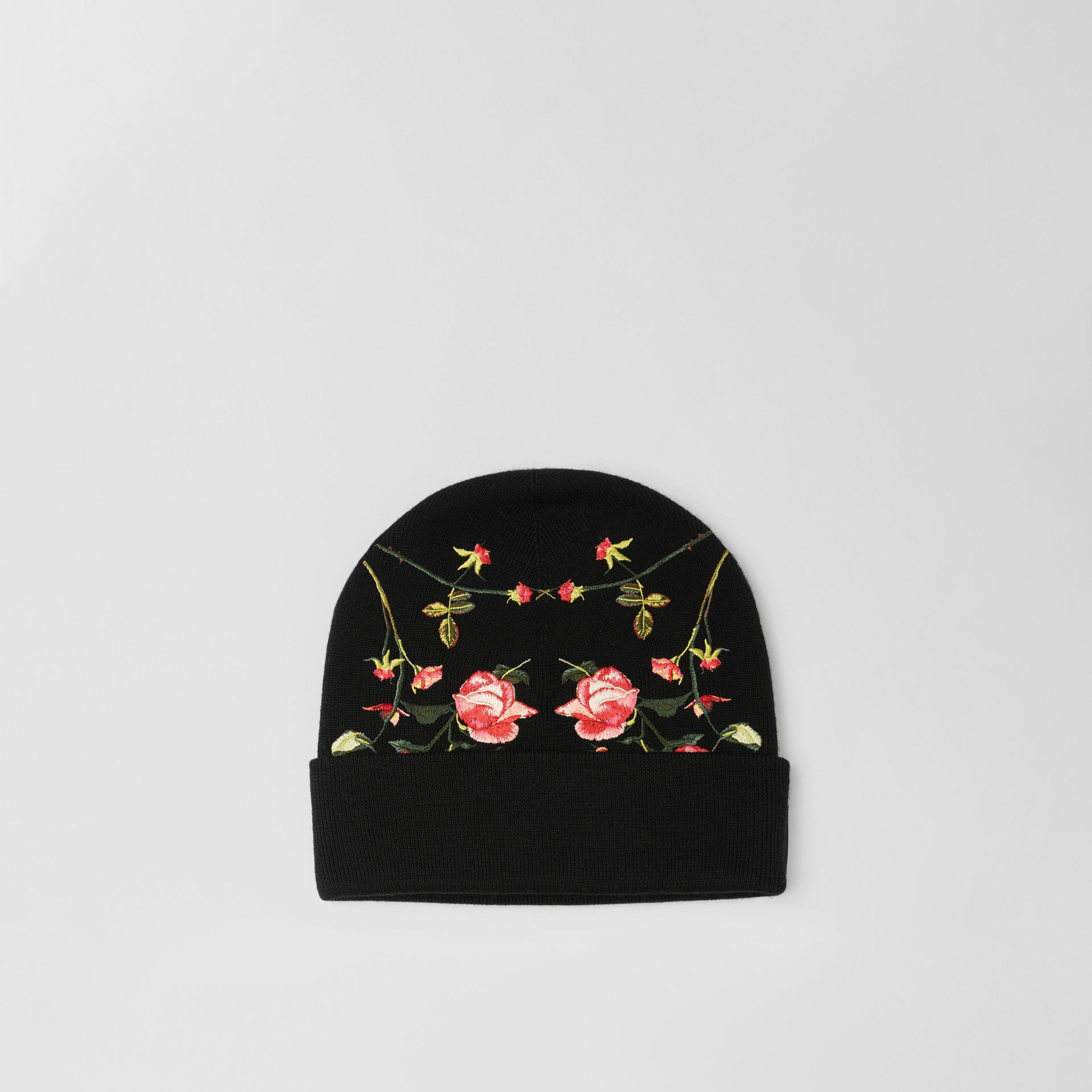 Embroidered Rose Merino Wool Beanie in Black | Burberry - gallery image 0