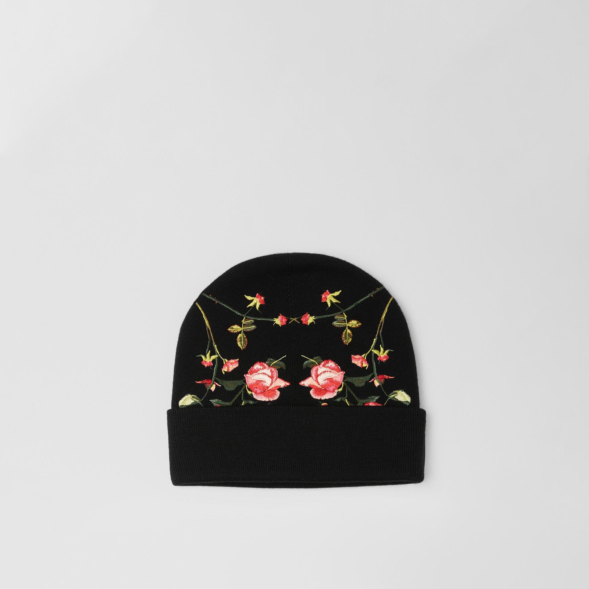 Berretto in lana Merino con rose ricamate (Nero) | Burberry - immagine della galleria 0