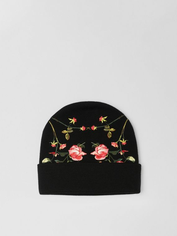 Embroidered Rose Merino Wool Beanie in Black