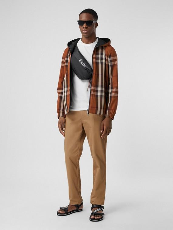 Veste réversible à capuche en coton technique check (Bouleau Brun Sombre)