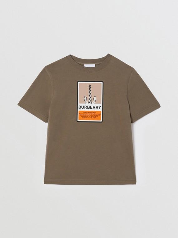 Logo Graphic Print Cotton T-shirt in Smoke