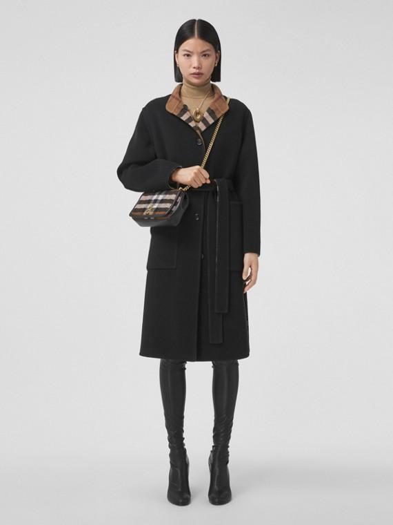 Reversible Check Wool Coat in Birch Brown