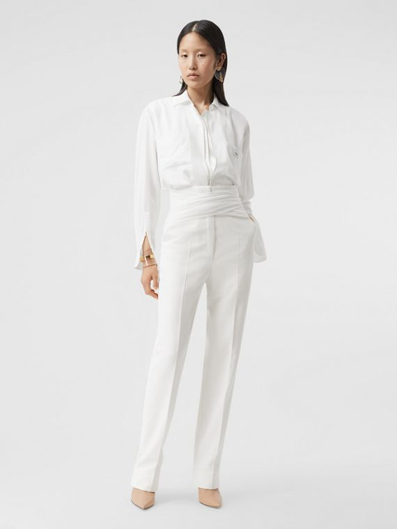 Logo Appliqué Silk Satin Oversized Shirt in Optic White