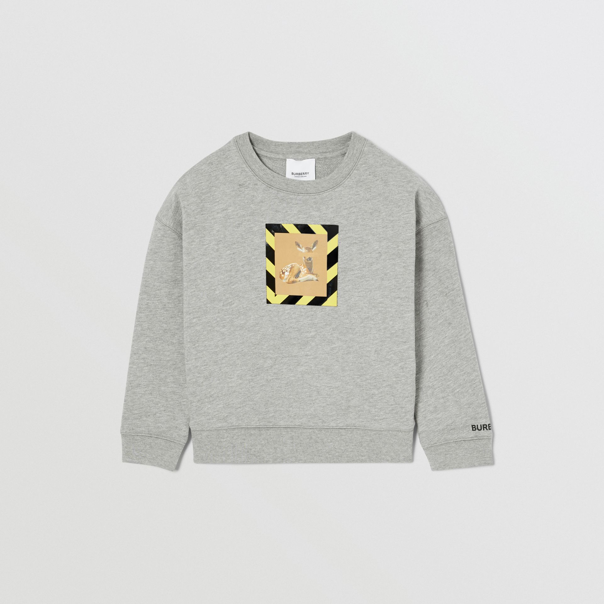 Deer Print Cotton Sweatshirt in Grey Melange | Burberry Hong Kong S.A.R - gallery image 0