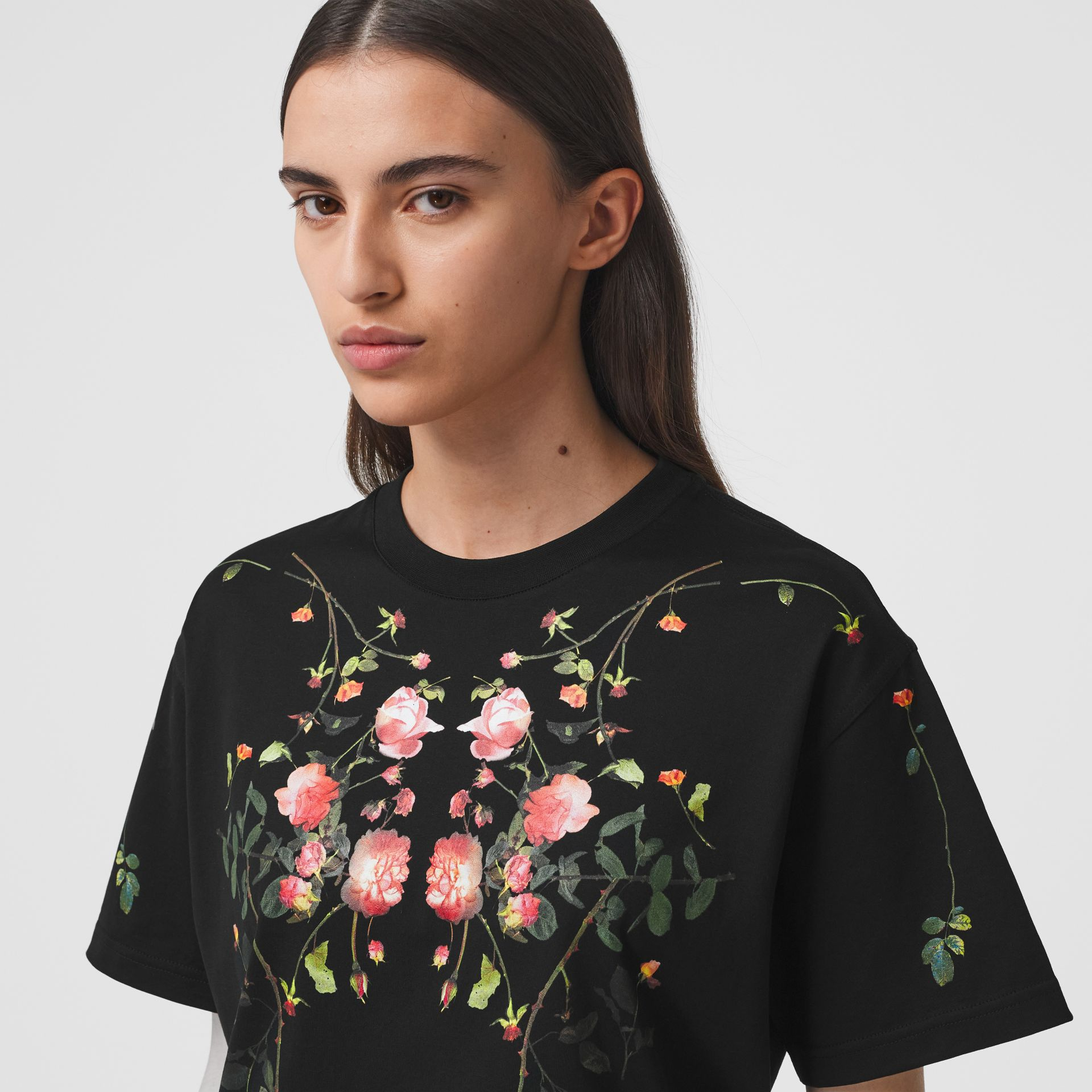 Rose Print Cotton Oversized T-shirt in Black - Women | Burberry - gallery image 1