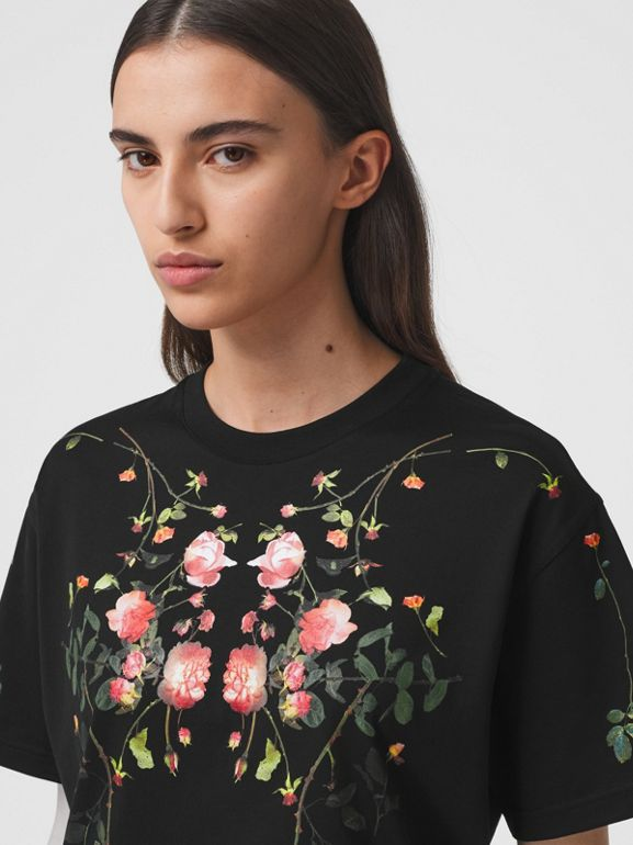 Rose Print Cotton Oversized T-shirt in Black - Women | Burberry - cell image 1
