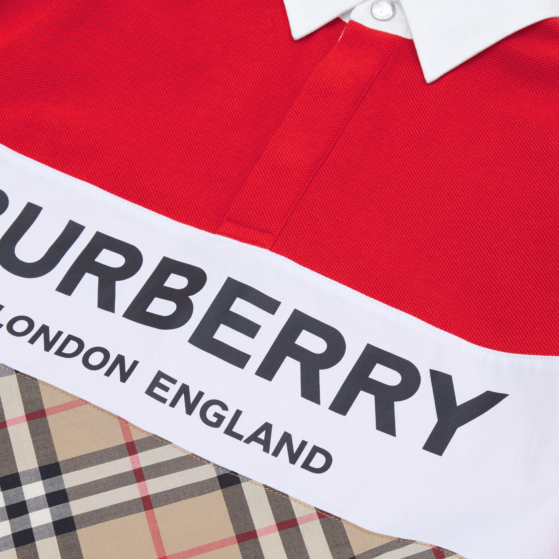 Long-sleeve Logo Print Vintage Check Panel Polo Shirt in Bright Red | Burberry United Kingdom - gallery image 1