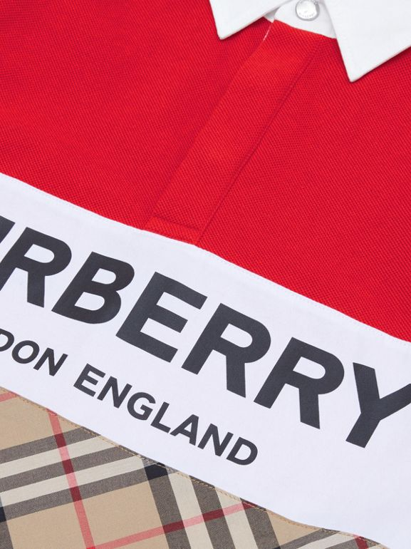 Long-sleeve Logo Print Vintage Check Panel Polo Shirt in Bright Red | Burberry United Kingdom - cell image 1