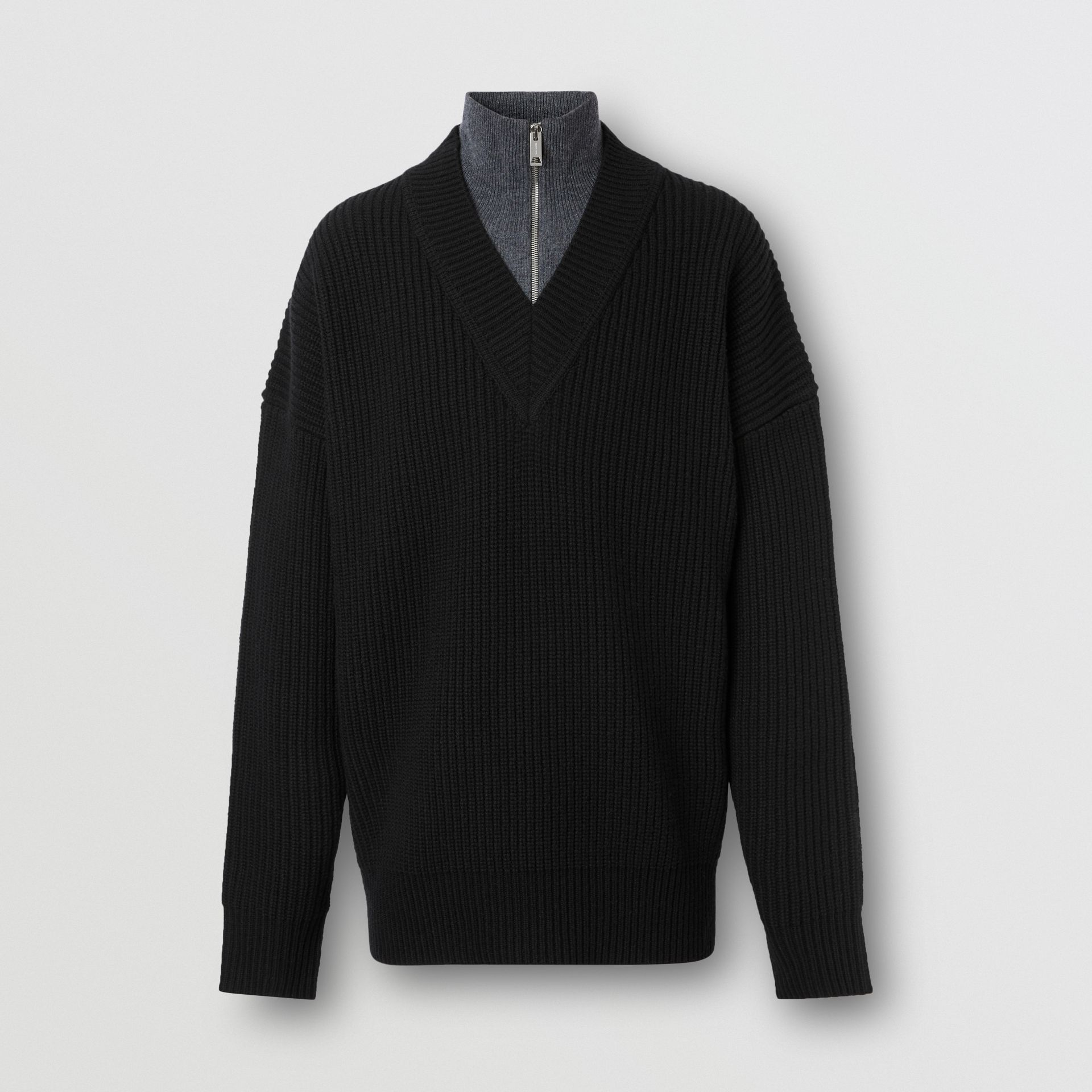 Funnel Neck Wool Cashmere Zip-front Sweater in Black - Men | Burberry - gallery image 3