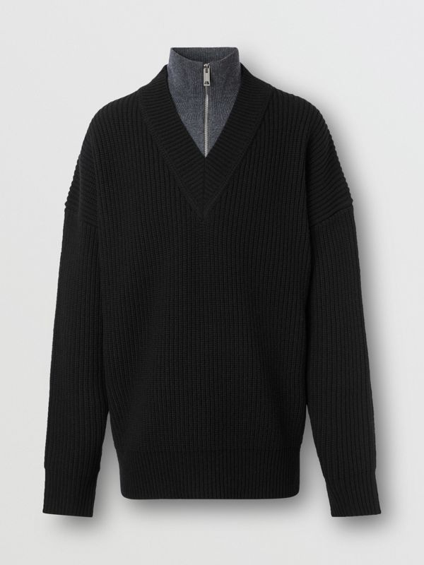Funnel Neck Wool Cashmere Zip-front Sweater in Black - Men | Burberry - cell image 3
