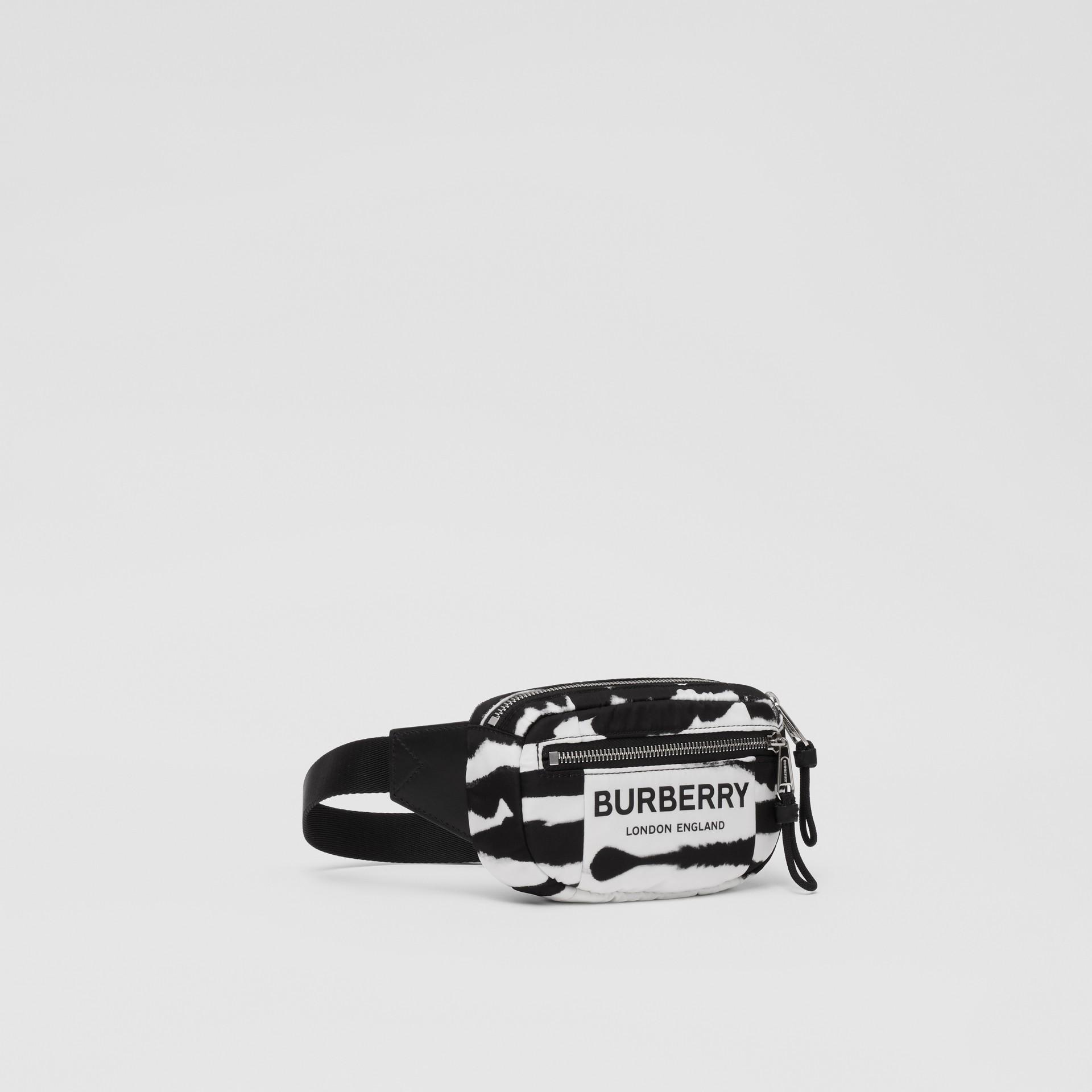 Small Watercolour Print ECONYL® Cannon Bum Bag in Black/white - Men   Burberry - gallery image 4
