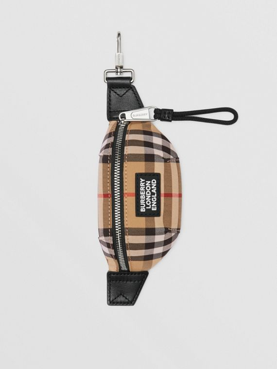Vintage Check and Leather Bum Bag Charm in Archive Beige