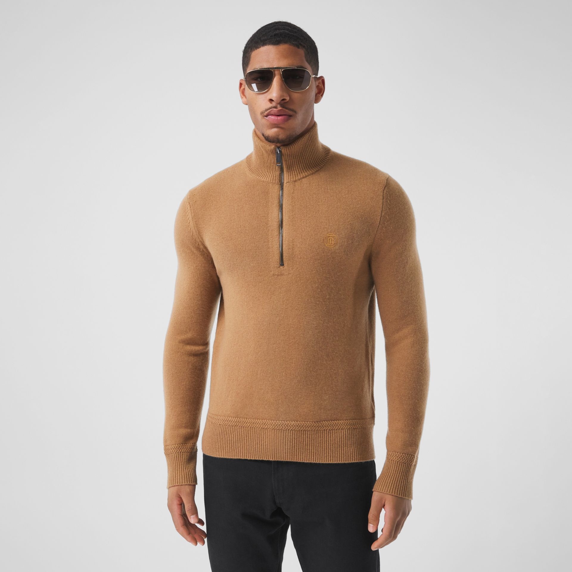 Monogram Motif Cashmere Funnel Neck Sweater in Camel - Men | Burberry - gallery image 0