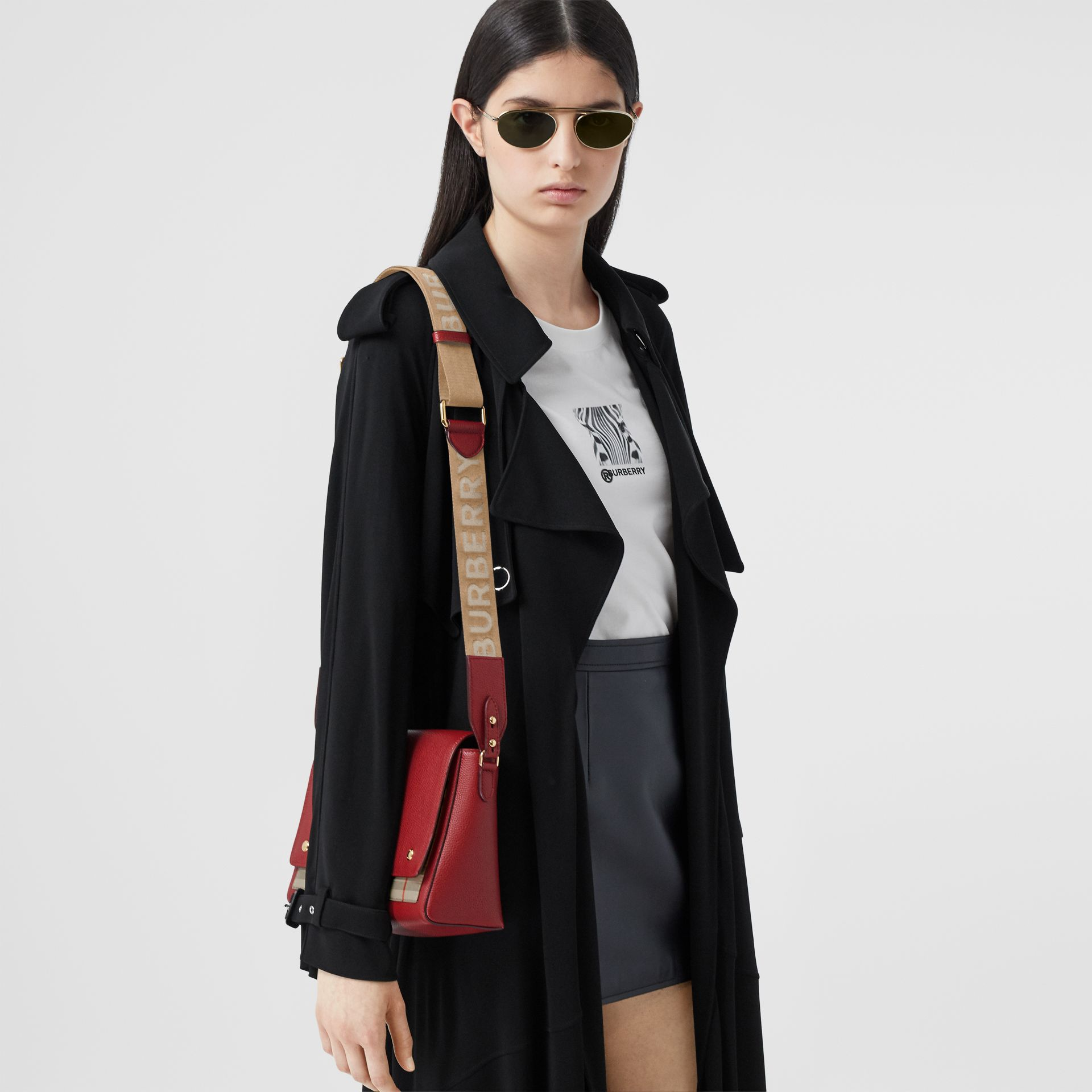 Leather and Vintage Check Note Crossbody Bag in Dark Carmine - Women | Burberry United States - gallery image 2