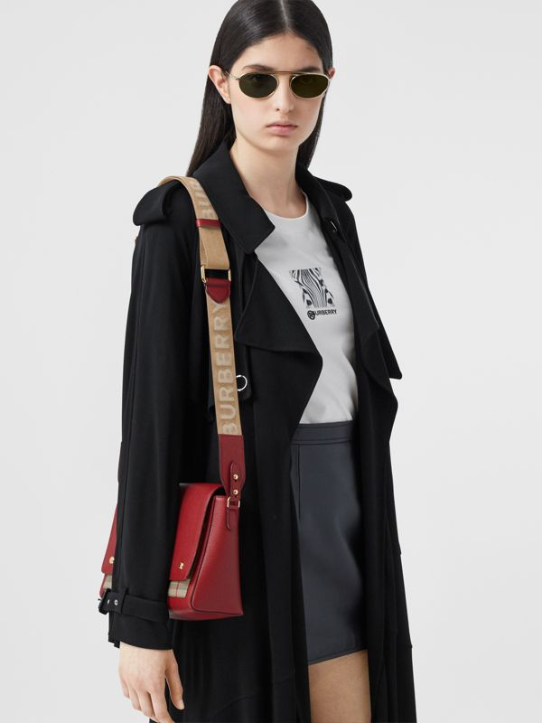 Leather and Vintage Check Note Crossbody Bag in Dark Carmine - Women | Burberry United States - cell image 2